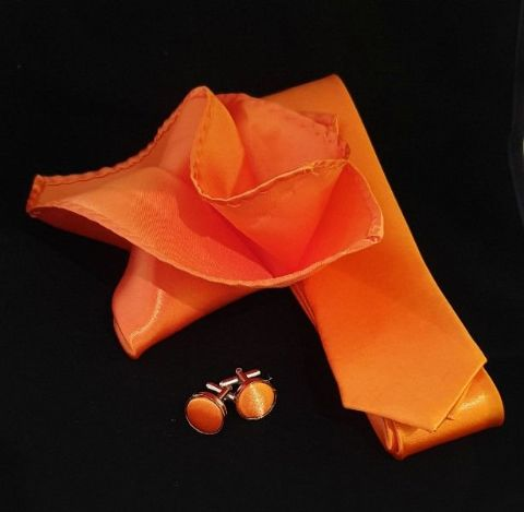 Orange Tie, Cufflink & Pocket Square Set